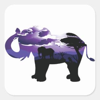 Sticker Carré Nuit africaine avec l'éléphant