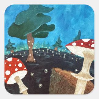 Sticker Carré nuit trippy dans les bois