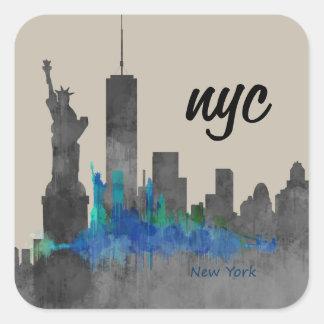 Sticker Carré nyc cool skyline new york design. new ! !