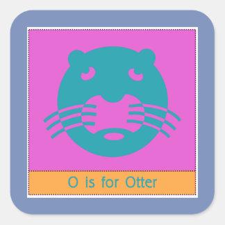 Sticker Carré O est pour l'alphabet animal de loutre pour des