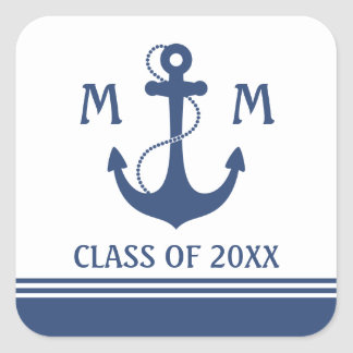 Sticker Carré Obtention du diplôme nautique de bleu marine