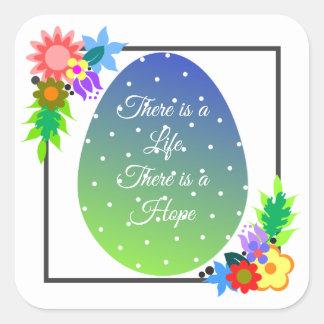 Sticker Carré Oeuf mignon de point de polka avec la guirlande