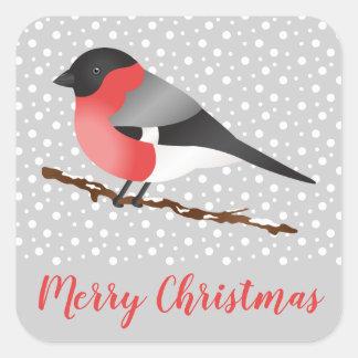 Sticker Carré Oiseau eurasien de bouvreuil dans le Joyeux Noël