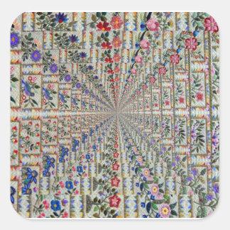 Sticker Carré Oiseaux et fleurs de motif de broderie