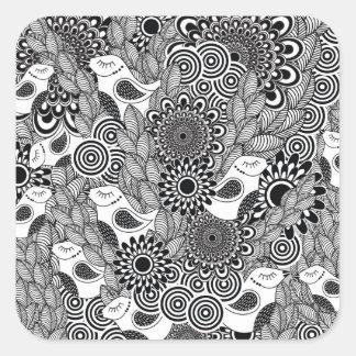 Sticker Carré oiseaux noirs et blancs tropicaux