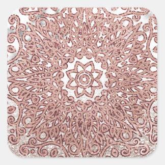 Sticker Carré Ombre rose de parties scintillantes de marbre de