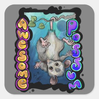 Sticker Carré Opossum impressionnant !