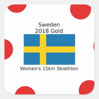 Sticker Carré Or 2018 de la Suède - 15km Skiathlon des femmes