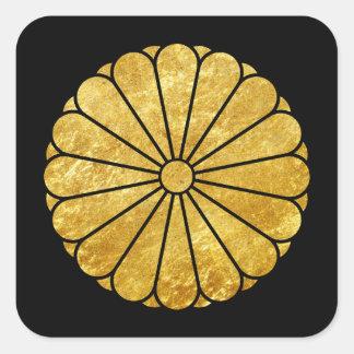 Sticker Carré Or de faux de lundi de chrysanthème de Kiku sur le