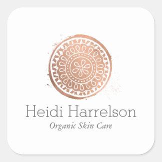 Sticker Carré Or élégant d'oeufs de logo de mandala de beauté