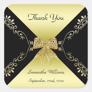 Sticker Carré Or élégant et Merci décoratif noir d'arc