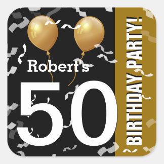 Sticker Carré OR NOIR K96Z de cinquantième anniversaire de