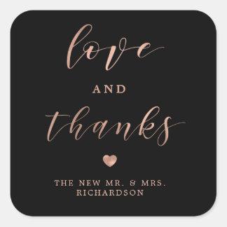 Sticker Carré Or rose de Faux d'amour et de mercis   et mariage