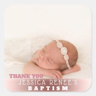 Sticker Carré Or rose de la faveur | de Merci de baptême de bébé