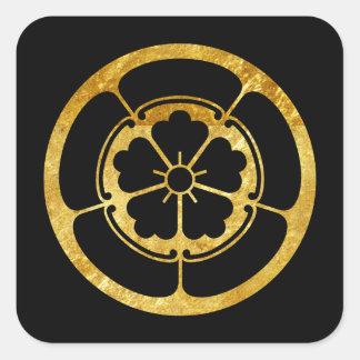 Sticker Carré Or samouraï japonais de faux de clan d'Oda lundi