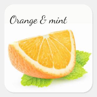 Sticker Carré Orange et menthe