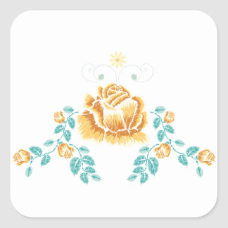 Sticker Carré Ornement de rose jaune de broderie