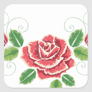 Sticker Carré Ornement de rose rouge de broderie