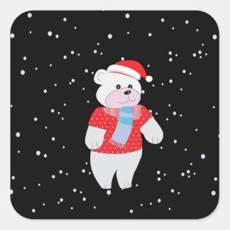 Sticker Carré ours blanc