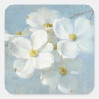 Sticker Carré Panneau blanc de fleur