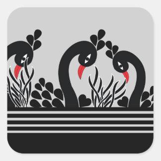 Sticker Carré paon noir