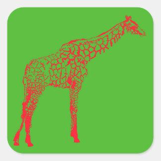 Sticker Carré Papier d'emballage d'ensemble de girafe de pochoir