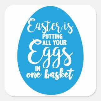 Sticker Carré Pâques met tous vos oeufs dans un panier