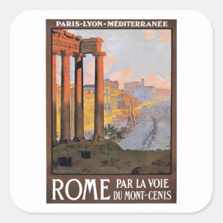 Sticker Carré Paris 1920 à l'affiche de voyage de train de Rome