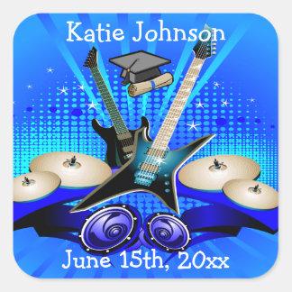 Sticker Carré Partie bleue de diplômé de guitares électriques,