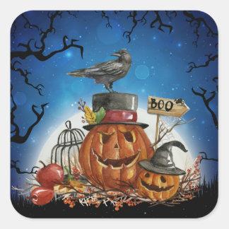 Sticker Carré Partie de citrouille de Halloween Raven