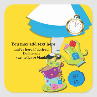 Sticker Carré Partie jaune lunatique de tasses de thé du pays
