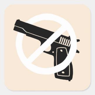 Sticker Carré Pas plus d'armes à feu (autocollants)