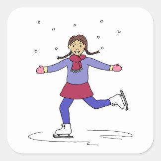 Sticker Carré Patineur artistique de fille de patinage de glace