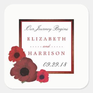 Sticker Carré Pavots rouges et mariage de toile de jute