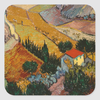 Sticker Carré Paysage de Vincent van Gogh | avec la Chambre et