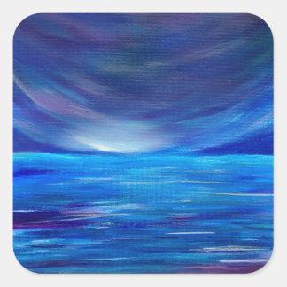 Sticker Carré Paysage marin abstrait de bleu et de pourpre