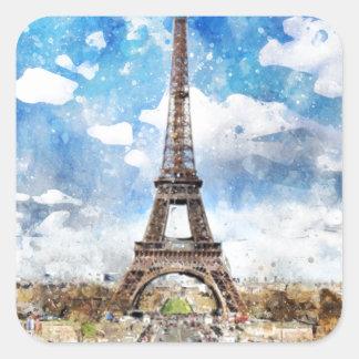 Sticker Carré Paysage urbain Paris, Eiffel d'aquarelle vers