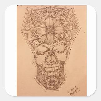 Sticker Carré PC-Crâne