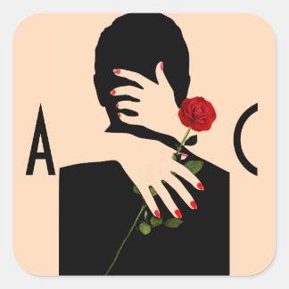 Sticker Carré Pêche d'art déco et mariage noir