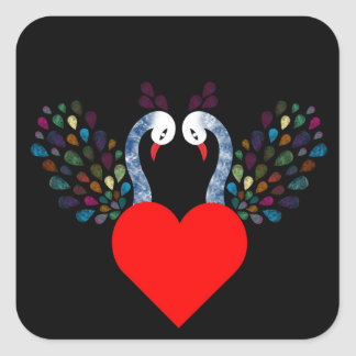 Sticker Carré pecock 3 d'amour