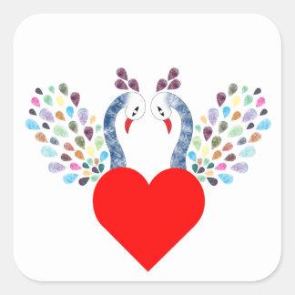 Sticker Carré pecock d'amour