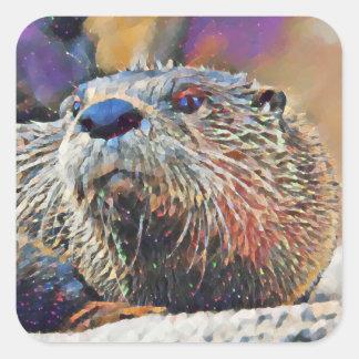 Sticker Carré Peinture à l'huile de Digitals de loutre de