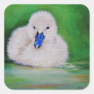 Sticker Carré Peinture de canard de bébé