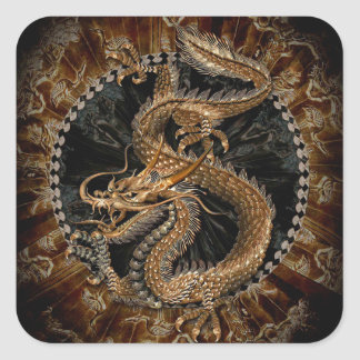 Sticker Carré Pentagone étoilé de dragon
