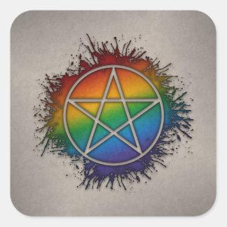 Sticker Carré Pentagramme d'arc-en-ciel