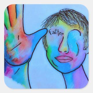 Sticker Carré Père d'ASL dans des traits bleus