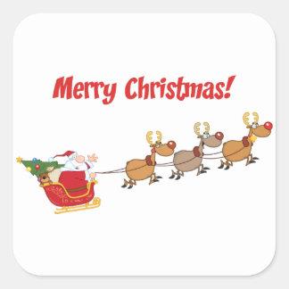 Sticker Carré Père Noël dans son Sleigh