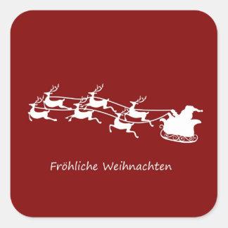 Sticker Carré Père Noël sur Sleigh Fröhliche Weihnachten