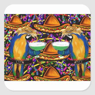 Sticker Carré Perroquet de partie de Cinco De Mayo