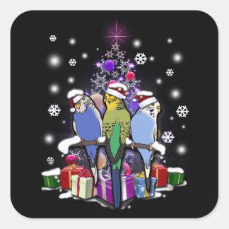 Sticker Carré Perruches avec le cadeau et les flocons de neige